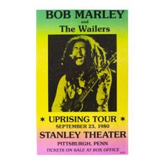Bob Marley & The Wailers Uprising Tour Concert Poster - Start a revolution in your own home with this vivid Bob Marley and the Wailers Uprising Tour Concert poster with dimensions 14 x 22. You'll feel like this 1980 tour was yesterday.