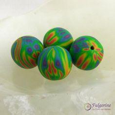 Multicoloured full spectrum polymer clay art beads by FulgorineBeads