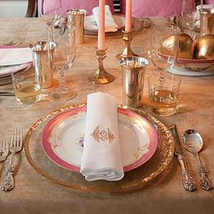 Look to an heirloom china pattern for inspiration, like this palette of champagne and gold with subtle touches of pink. Don't be afraid to c...
