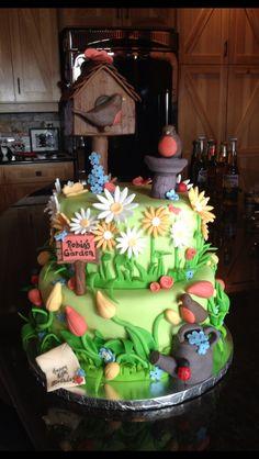 flower garden cake design - Internal Home Design Fondant Cakes, Cupcake Cakes, Cupcakes, Pretty Cakes, Beautiful Cakes, Dad Cake, Foundant, Retirement Cakes, Garden Cakes
