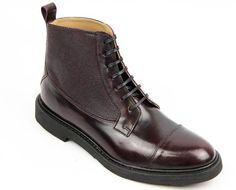 Ohns BEN SHERMAN Retro Mod Hi Shine Bovver Boots in oxblood. Scotch grain side panels add a hint of texture: http://www.atomretro.com/product_info.cfm?product_id=14875 #bensherman #ohnsboots #boots #atomretro