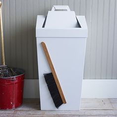 garbage can/dustbin with magnetic wood brush and swinging lid that detaches to be a dustpan