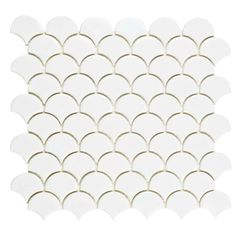 Would look nice on shower wall. -------------------------------------------------------------------- Merola Tile Expressions Scallop White in. x 12 in. x 7 mm Glass Mosaic Tile Ceramic Mosaic Tile, Mosaic Wall, Mosaic Glass, Wall Tiles, Backsplash Tile, Tiling, Scallop Tiles, Fish Scale Tile, Glass Installation