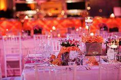 Pops of orange & pink #weddings #tablescapes #blisschicago