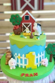 Animal Themed Birthday Party, Animal Birthday Cakes, Farm Animal Birthday, Boys 1st Birthday Cake, Boy Birthday Parties, Birthday Themes For Boys, Farm Animal Cakes, Farm Animals, Farm Party