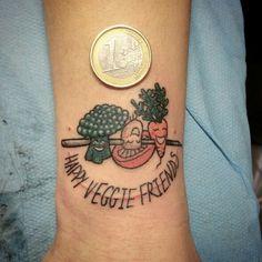 Happy veggie friends. Tattoo by Mylooz done at The Tattooed Lady, Montreuil, france. mylooz.tatouage@gmail.com