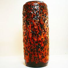 Huge West German Pottery Fat Lava mid century Scheurich vase in best condition