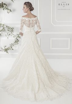 #Ellis2015 Style 11418 Back Shot 'Elegant Off-the-Shoulder Lace A-line Dress with Delicate Three Quarter Length Sleeves and Narrow Satin Belt'