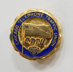 CTTU Chicago Telephone Traffic Union Vintage Lapel Pin Enamel on Gold Tone Metal 11728 epsteam by QueeniesCollectibles on Etsy