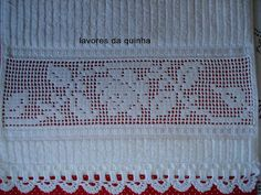 LAVORES DA QUINHA: CRIVO-Toalhas de lavabo Filet Crochet, Different Styles, Diy And Crafts, Embroidery, Barbados, Image, White Lined Curtains, Hand Towels, Linen Tablecloth