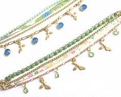 Liberty Print Ribbon Bee Charm Bracelets with Vintage Rhinestone and Brass Chains and Swarovski Crystal Charms by MissyTRocks on Etsy