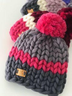 Handknit Beanie in Pink Big Wool Knit Women's Winter Hat with # ladies . Handknitted Beanie in Pink Big Wool Knit Women's Winter Hat with Loom Knitting, Hand Knitting, Knitting Patterns, Big Wool, Knitted Hats, Crochet Hats, Big Yarn, Yarn Projects, Chunky Yarn