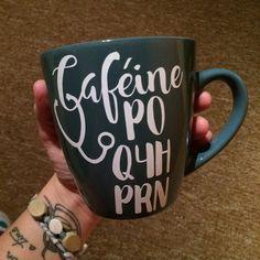 Decal Caféine PO PRN stick on mug, travel mug, mason jar (french version) Coffee Cup Art, Coffee Mugs, Pot Mason, Mason Jars, Nurse Decals, Nurse Life Decal, Nurse Mugs, Rn Nurse, Nurse Stuff