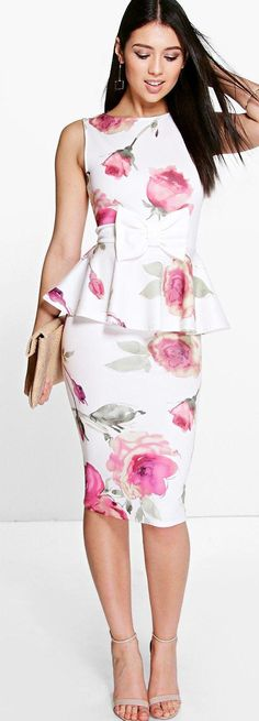 Julie Floral Bow Detail Peplum Midi Dress - Dresses  - Street Style, Fashion Looks And Outfit Ideas For Spring And Summer 2017