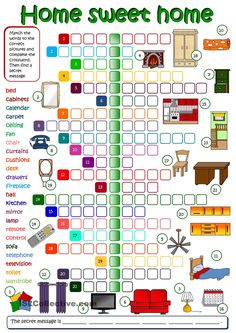 Home sweet home - English ESL Worksheets English Games, Kids English, English Activities, English Class, English Lessons, Teaching English, Learn English, Spelling Activities, Vocabulary Games