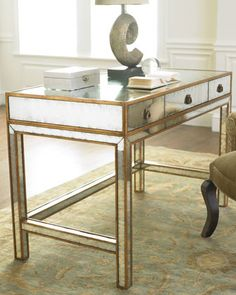 "Mirrored Writing Desk by John-Richard Collection at Neiman Marcus. $2069    Eglomise finish with hand-painted gold wood trim.  47""W x 24""D x 31""T.  From the John-Richard Collection."