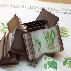 Tutorial on how to make miniatures books from - Fairy Lights Terrace Dollhouse Miniature Tutorials, Miniature Crafts, Miniature Dolls, Book Crafts, Diy And Crafts, Paper Crafts, Canvas Crafts, Mini Books, Diy Tiny Books