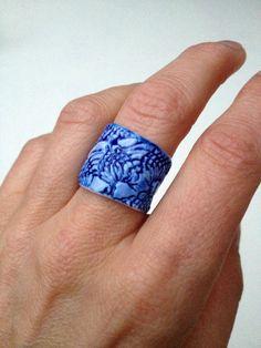 handmade cobalt blue porcelain ring 'Ming' by dellalana on Etsy, €95.00
