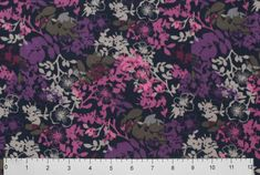 Purple Pink Yellow Floral Cotton Blend Scrubs Fabrics 58 wide BTY by the yard