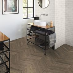 Chevron tiles are so in right now! Get the low down on the different styles, how to lay and more with our handy buying guide. Chevron Tile, Chevron Floor, Kitchen Cart, Tiles, Flooring, Brown, House, Bathrooms, Home Decor