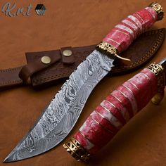 Pretty Knives, Cool Knives, Damascus Knife, Damascus Steel, Knife Handles, Brass Handles, Swords And Daggers, Knives And Swords, Survival Weapons