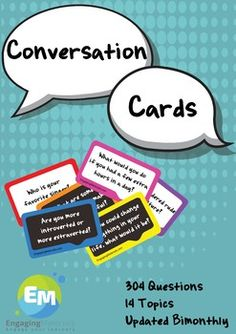 The set includes 14 topics, and 304 questions. The bundle will be updated twice a month. The cards will serve you through out your teaching career with hours of materials for conversations. The bundle includes various topics that would fit different ages, levels, learners, and cultures.