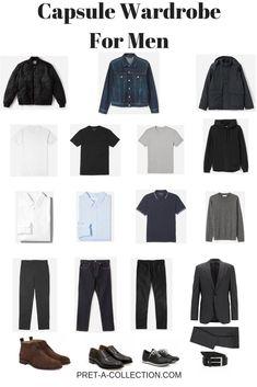 How to style men capsule wardrobe minimalist wardrobe men, minimal wardrobe Capsule Wardrobe Casual, Mens Wardrobe Essentials, Men's Wardrobe, Wardrobe Ideas, Minimalist Wardrobe Men, Minimalist Fashion, Fashion Mode, Mens Fashion, Cheap Fashion