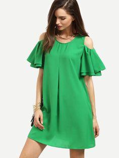 Green+Cold+Shoulder+Ruffle+Sleeve+Shift+Dress+19.00
