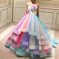 Details about Rainbow Wedding Bridal Evening Dresses Sweet 16 Party Quinceanera Prom Ball Gown - Amazing Dresses - Gowns Colorful Prom Dresses, Wedding Dresses With Flowers, Evening Dresses For Weddings, Sweet 16 Dresses, Sweet Dress, Pretty Dresses, Bridal Dresses, Beautiful Dresses, Bridesmaid Gowns