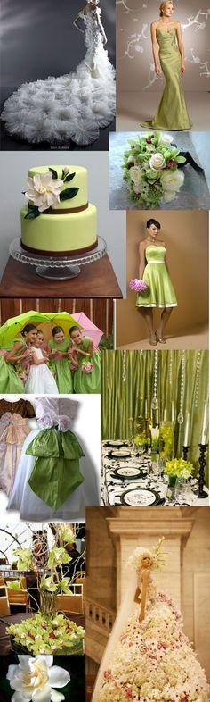 Gardenia  and green wedding theme Holly I love the green short dress bridesmaid.....style?