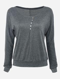Diagonal Buttons Round Neck Dacron Plain Long-sleeve-t-shirts