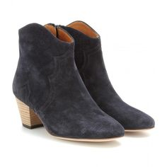 Isabel Marant Dicker Suede Ankle Boots ($500) ❤ liked on Polyvore featuring shoes, boots, ankle booties, black, black bootie, short black boots, short boots, suede booties and black suede booties