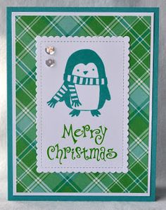 DAT'S My Style: Penguin Plaid Merry Christmas Card