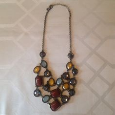Multiple colored statement necklace. Colorful Statement Necklace. 16-18 inch chain. Jewelry Necklaces