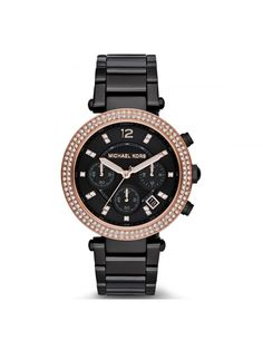 Michael Kors Women's MK5885 Parker Analog Display Black Rose Gold Watch