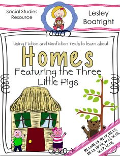 *Free download* Homes  Featuring the Three Little Pigs Social Studies Activities, Writing Activities, 3 Little Pigs Activities, Literary Writing, Reading Passages, Reading Comprehension, Teaching First Grade, Three Little Pigs, Preschool At Home