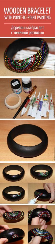Wooden bracelet with point-to-point painting tutorial / Браслет с точечной росписью