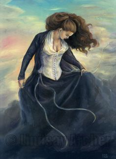 Frigg is Goddess of the sky, marriage, motherhood, love, fertility, and the domestic arts. She and Freyja are the two most important Goddesses in the Norse pantheon. She is the patron Goddess of spinners and weavers, and she spins the clouds in the sky. Frigg is attended by twelve handmaidens: Eir, Fulla, Gefjon, Gná, Hlín, Lofn, Saga, Sjöfn, Snotra, Syn, Vár, and Vör.