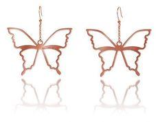 ORECCHINI CON FARFALLE DORATI ROSA  Orecchini in argento 925 bagnati in oro rosa con pendenti a forma di farfalle. pendente mm 7 x 7.  Prices: $102.04