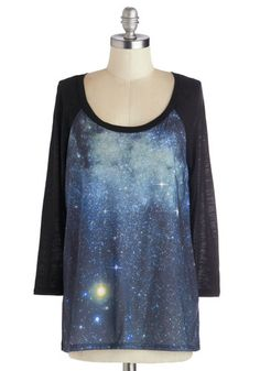 Galaxy the Sights Top - Novelty Print, 3/4 Sleeve, Better, Mid-length, Jersey, Knit, Casual, Cosmic, Scoop, Black, Long Sleeve, Blue, Black,...