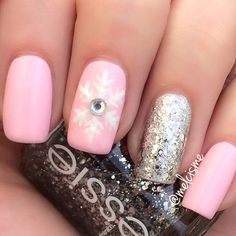Winter nail design pink snowflake