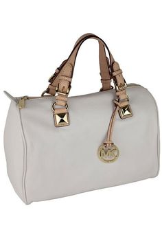 Michael Kors Large Grayson Satchel In Vanilla
