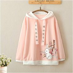 Pink Cute Rabbit Hoodie Jumper Material: made of cotton Color: Pink Size Reference Size Shoulder Bust Bottom Opening Length Sleeve Length One Size Kawaii Fashion, Cute Fashion, Girl Fashion, Fashion Design, Kawaii Dress, Kawaii Clothes, Girl Outfits, Casual Outfits, Fashion Outfits