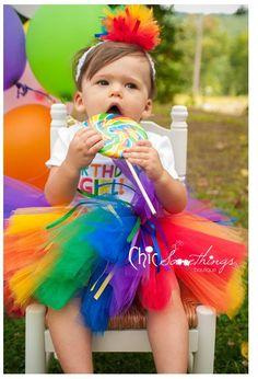 Rainbow Tutu, Baby Tutu and headband set, 0 to 24m, Photo Prop Tutu, Childrens Toddler Infant Tutu, Custom  Birthday Tutu, rainbow tutu. $42.00, via Etsy.