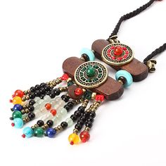 Ethnic Jewelry Necklace Vintage Wood Crystal Sweater Women Necklace