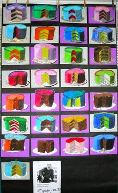 Fine Lines: Thiebaud Inspired Cakes värit ja kakut? Arte Elemental, Classe D'art, 2nd Grade Art, Art And Craft Videos, Ecole Art, School Art Projects, Collaborative Art, Middle School Art, Art Lessons Elementary