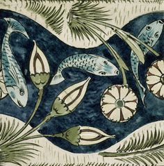 Fish and Lilies tile by William De Morgan. Life-long friend of William Morris, William De Morgan, was an exceptional potter and designer. His tiles are of particular importance, as many of his images continue to influence fabric and other textile design