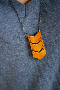 Geometric Leather Triple Chevron Necklace  Antique by shoprarebird, 34$