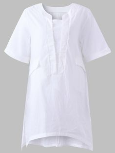 f33eca482e3 Loose Women Solid Short Sleeve Pockets Side Split Shirts can cover your  body well