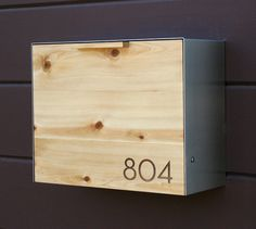 Modern Mailbox Large, Knotty Cedar and Stainless Steel Mailbox